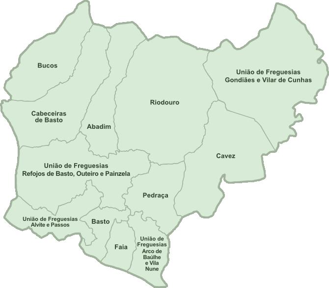 cabeceiras de basto mapa Mapa de Freguesias de Cabeceiras de Basto cabeceiras de basto mapa